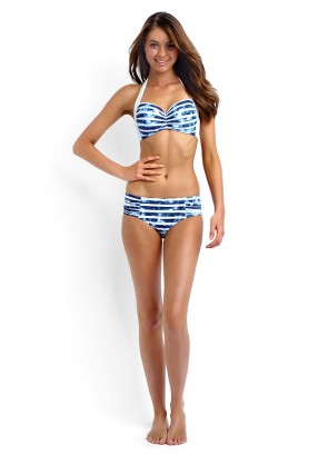 Inked Stripe Soft Cup Halter & Ruched Side Retro