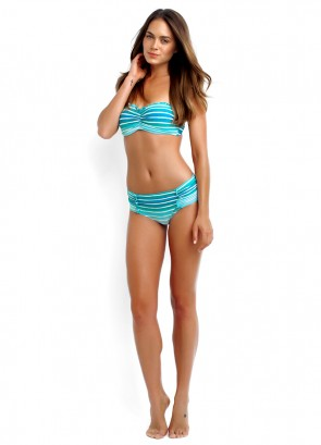 Miami Stripe Bustier Bandeau and Ruched Side Retro